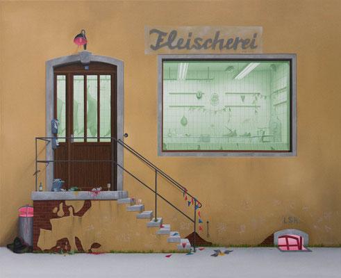 André Schulze: *Fleischerei*, 2017, Öl/Leinwand, 65 x 80 cm
