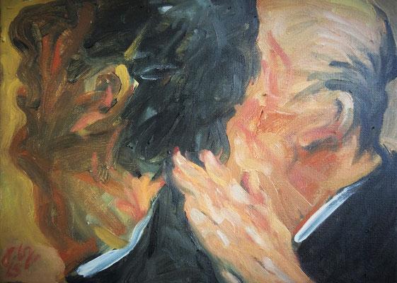 Johannes Grützke: *Zwei Köpfe mit 'ner Hand im Nacken*, 10.11.2015, Öl/Leinwand, 2015, 30 x 40 cm