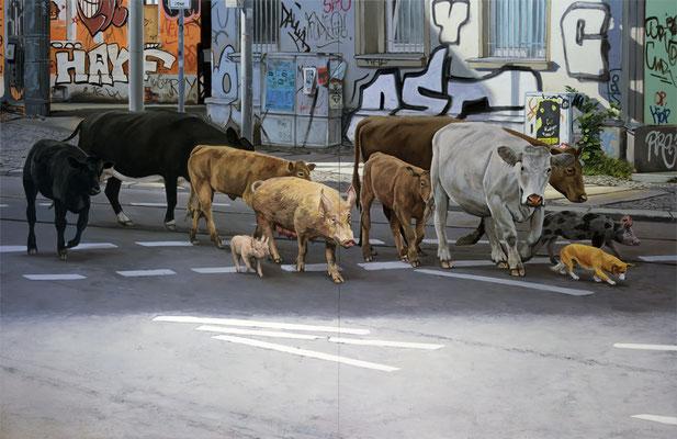 Hartmut Kiewert: *Crossing*, 2017, Öl/Leinwand, 250 x 380 cm