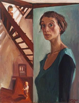 Bettina Moras: *Mutter mit Kindern* (Selbst), 2018, Öl/Leinwand, 85 x 65 cm