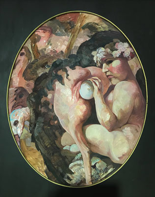 Yongbo Zhao: *Das Ei*, 2000, Öl/Leinwand, 100 x 80 cm