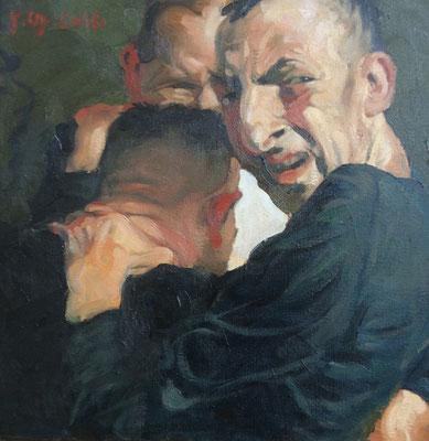 Johannes Grützke: *Drei Männer mit einem Geheimnis*, 16.2.2016, Öl/Leinwand, 40 x 40 cm