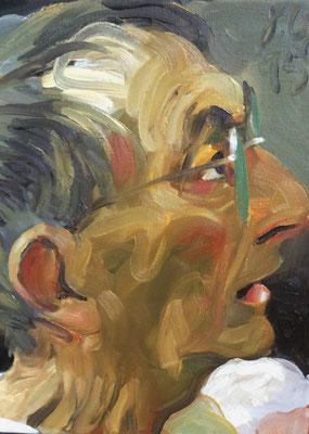 Johannes Grützke: *Selber nach rechts*, 18.9.2015, Öl/Leinwand, 40 x 30 cm