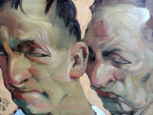 Johannes Grützke: *Doppel-Selbst (Zwei männliche Köpfe hintereinander)*, 23.11.2015, Öl/Leinwand, 30 x 40 cm