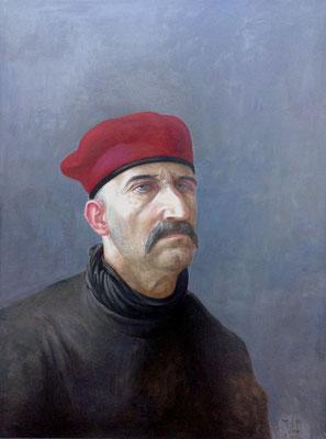 Volker Stelzmann:*Selbst mit roter Mütze*, 1988, Mischtechnik/Hartfaserplatte, 80 x 60 cm