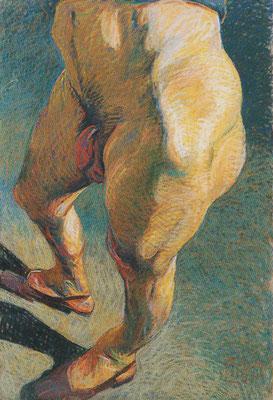 Johannes Grützke: *Männlicher Unterleib mit Schuhen*, 1993, Pastell/Papier, 150 x 100 cm