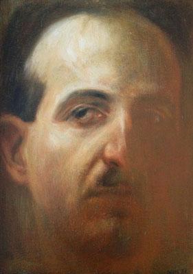 Dietmar Gross: Selbst*, 1987, Öl/Leinwand, 24 x 17,5 cm