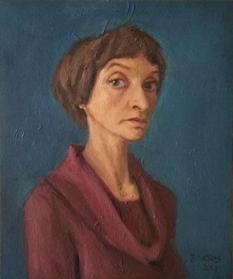 Bettina Moras: *Selbst auf Blau*, 2018, Öl/Leinwand, 50 x 60 cm