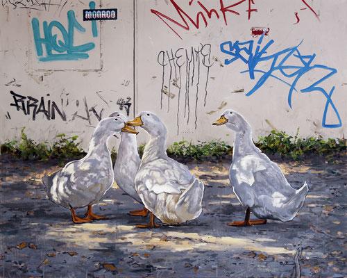 Hartmut Kiewert: *Gathering*, 2018, Öl/Leinwand, 120 x 150 cm