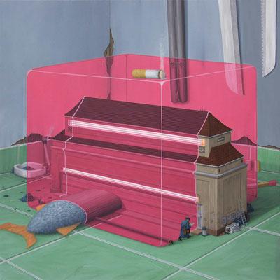 André Schulze: *Magischer Würfel*, 2019, Öl/Leinwand, 100 x 100 cm