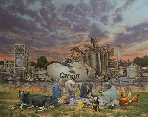 Hartmut Kiewert: *Picknick III*, 2019, Öl/Leinwand, 120 x 150 cm