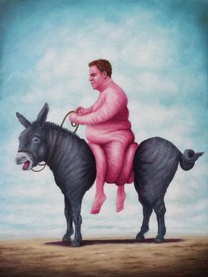 Bruno Pontiroli: *La cour des grands*, 2016, Öl/Holzplatte, 40 x 30 cm