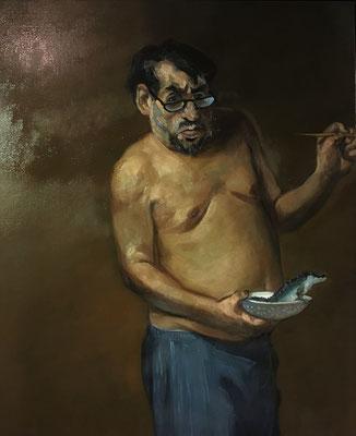 Pavel Feinstein: *Selbst mit kleinem Krokodil*, 2018, Öl/Leinwand, 110 x 90 cm