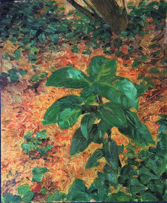 Johannes Grützke: *La cour humide*, 23.7.2003, Öl/Malpappe, 46 x 38 cm