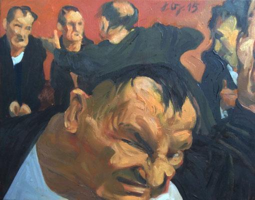 Johannes Grützke: *Die an der Kreuzigung Beteiligten*, 30.11.2015, Öl/Leinwand, 40 x 50 cm
