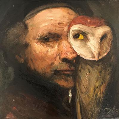 Yongbo Zhao: *Rembrandt mit Eule*, 2019, Öl/Leinwand, 40 x 40 cm