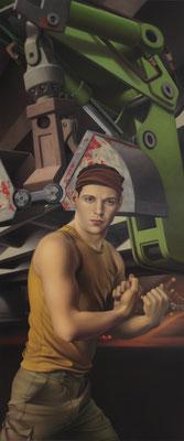 Andreas Leißner: *Drohung*, 2010, Öl/Hartfaserplatte, 176 x 74 cm