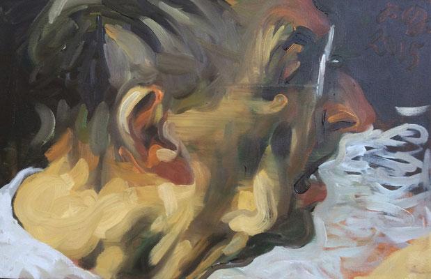 Johannes Grützke: *Selbst (nach rechts mit offenem Mund)*, 31.10.2015, Öl/Leinwand, 40 x 60 cm