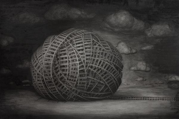 Bruno Pontiroli: *Ohne Titel* (D 094), 2014, Indische Tinte/Papier, 80 x 120