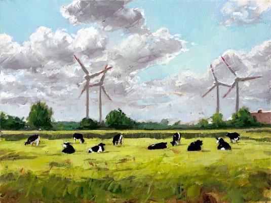 Hartmut Kiewert: *Weide mit Windrädern*, 2019, Öl/Leinwand, 30 x 40 cm
