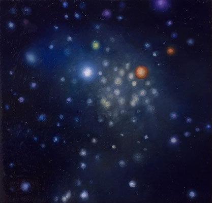 Andreas Leißner: *Weltraum III*, 2016, Öl/Hartfaserplatte, 13 x 13,5 cm