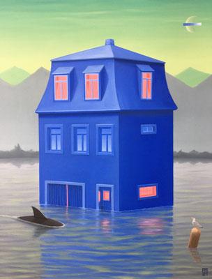 André Schulze: *Blaues Haus*, 2021, Öl/Leinwand, 60 x 50 cm