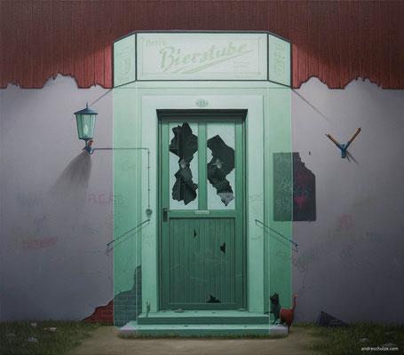 André Schulze: *Kneipe*, 2017, Öl/Leinwand, 70 x 80 cm