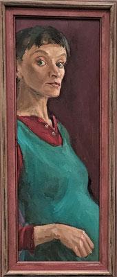 Bettina Moras: *Erneut in Erwartung*, 2016, Öl/Leinwand, 84 x 30 cm