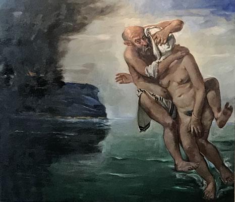 Pavel Feinstein: *N 2269* (Lot und seine Frau), 2017, Öl/Leinwand, 180 x 200 cm