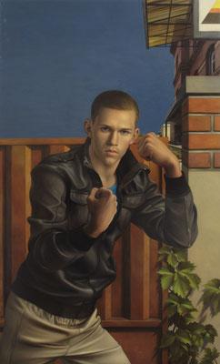 Andreas Leißner: *Drohung II*, 2011, Öl/Hartfaserplatte, 145 x 87 cm