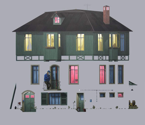 André Schulze: *Fabrikantenvilla*, 2014, Öl/Leinwand, 130 x 150 cm