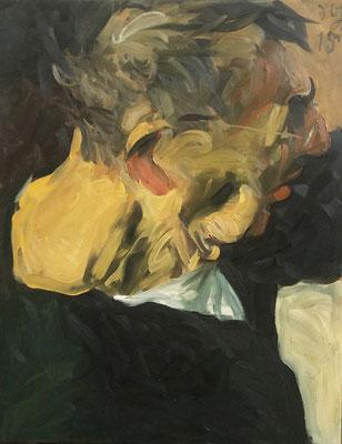 Johannes Grützke: *Selbst (Nacken im Licht - Profil im Schatten)*, 16.10.2015, Öl/Leinwand, 90 x 70 cm