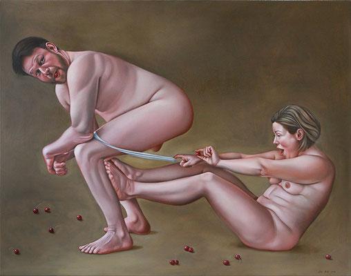 Lilli Hill: *Oxymora der Kirschen (gut miteinander Kirschen essen)*, 2018, Öl/Leinwand, 110 x 140 cm