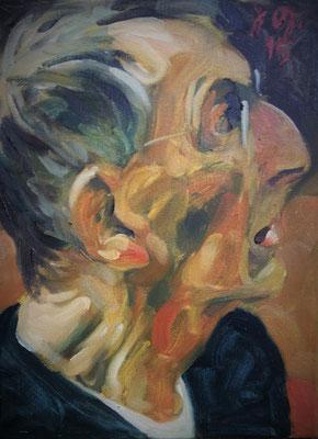 Johannes Grützke: *Selbst (Nochmal nach rechts)*, 2.10.2015, Öl/Leinwand, 40 x 30 cm