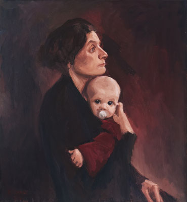 Bettina Moras: *Madonna con bambino* (Selbst mit Marie), 2019, Öl/Leinwand, 60 x 65 cm