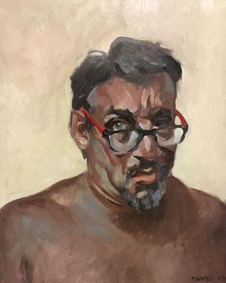 Pavel Feinstein: *N 2452* (Selbst), 2019, Öl/Holz, 50 x 40 cm