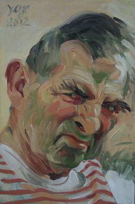 Johannes Grützke: *Selbst 21.9.2012*, Öl/Leinwand, 60 x 40 cm