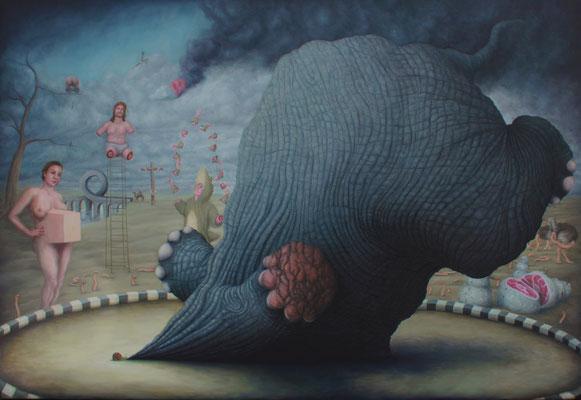 Bruno Pontiroli: *Un appétit d'ogre*, 2013, Öl/Leinwand, 146  x 212 cm