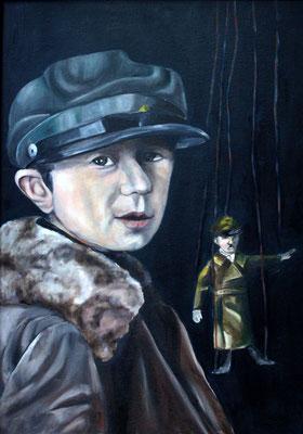 Michaela Classen: *Der Puppenspieler II*, 2008, Öl / Leinwand kaschiert auf Karton, 70 x 50 cm