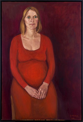 Bettina Moras: *S. in Erwartung*, 2015, Öl/Leinwand, 120 x 80 cm