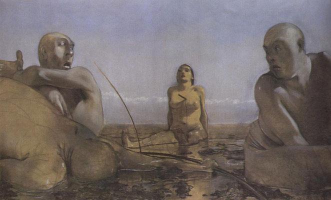 Johannes Grützke: *Im Watt*, 1978, Kohle, Pastellkreide, Aquarell/Karton, 98 x 158,5 cm
