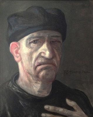 Volker Stelzmann:*Selbstporträt*, 2019, Mischtechnik/M, 50 x 40 cm