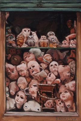 Bettina Moras: *Puppenstube*, 2018, Öl/Leinwand, 60 x 40 cm