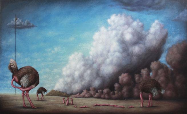 Bruno Pontiroli: *La politique de l'autruche*, 2012, Öl/Leinwand, 89 x 146 cm