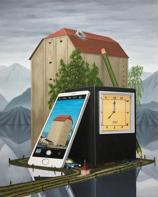 André Schulze: *Neue Zeit*, 2018, Öl/Leinwand, 80 x 75 cm