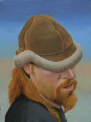 Torsten Holtz: *Selbst mit Pelzmütze*, 2009, Öl/Leinwand, 40 x 30 cm