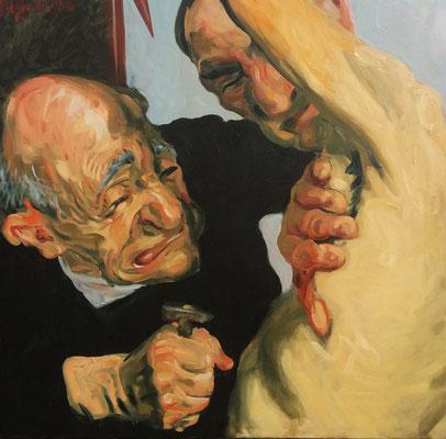 Johannes Grützke: *Wo ist das Herz?*, 18.3.2015, Öl/Leinwand, 100 x 100 cm