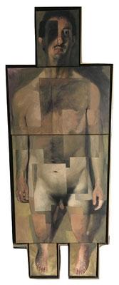 Dietmar Gross: Selbst*, 1989, Öl/Leinwand, 171,5 x 63,5 cm
