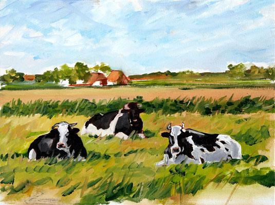 Hartmut Kiewert: *Dani, Martin und Luise*, 2019, Öl/Leinwand, 30 x 40 cm