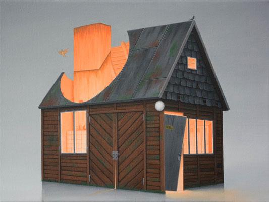 André Schulze: *Schuppen*, 2017, Öl/Leinwand, 30 x 40 cm